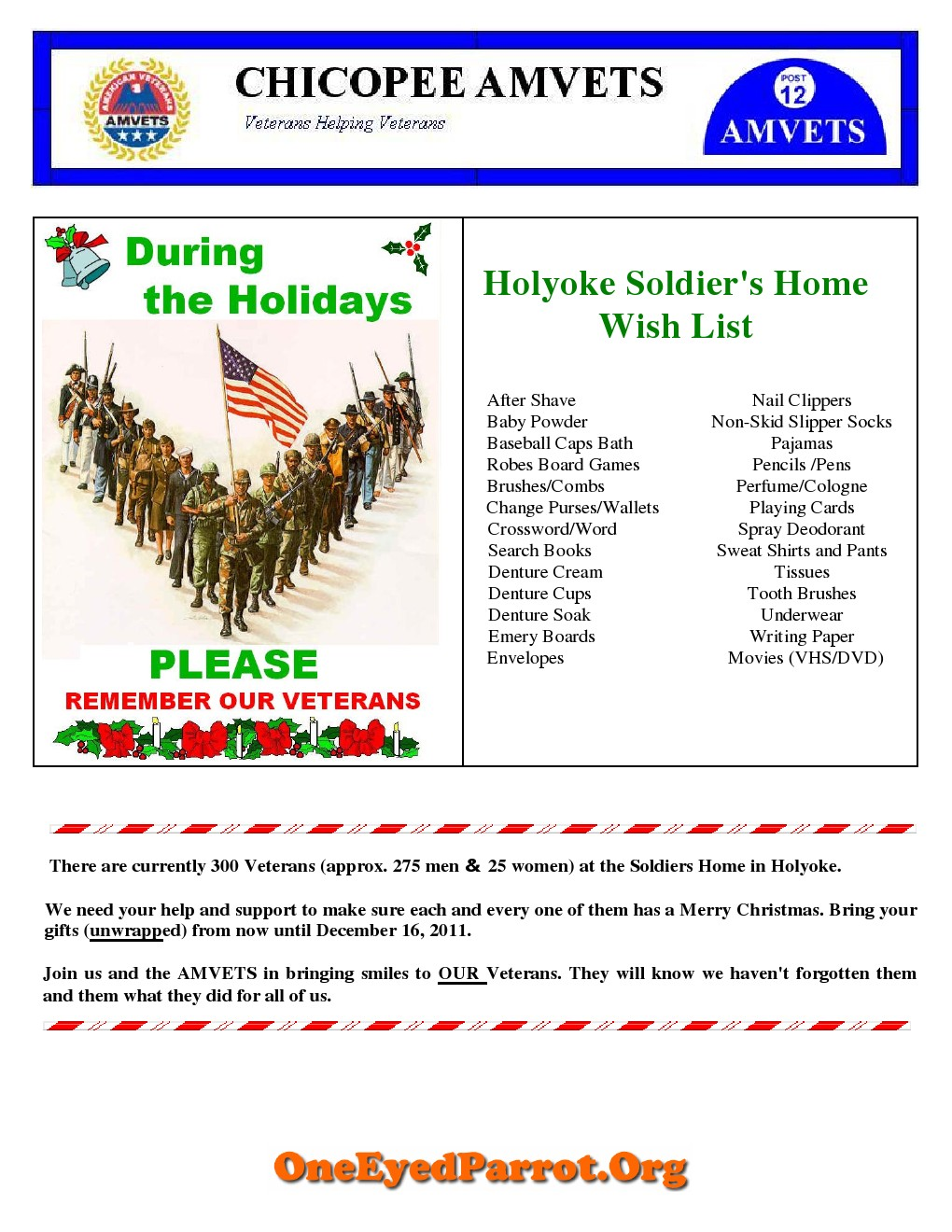 Soldiers home wish list for Home wish list